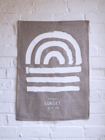 LIMITED EDITION Sunset Linen Print (White on Dark)