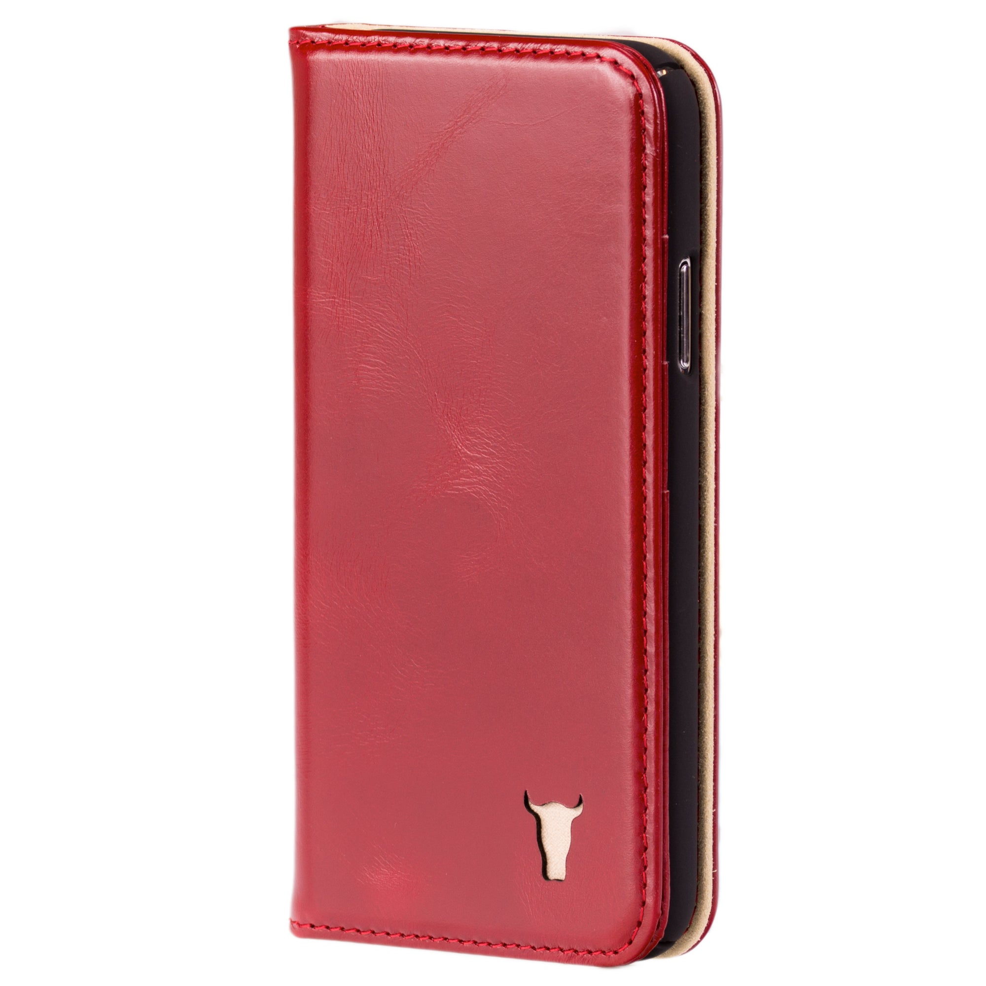 sports shoes 08697 74ff9 iPhone X / iPhone 10 Red Leather Case (cream suede interior), with Stand  Function