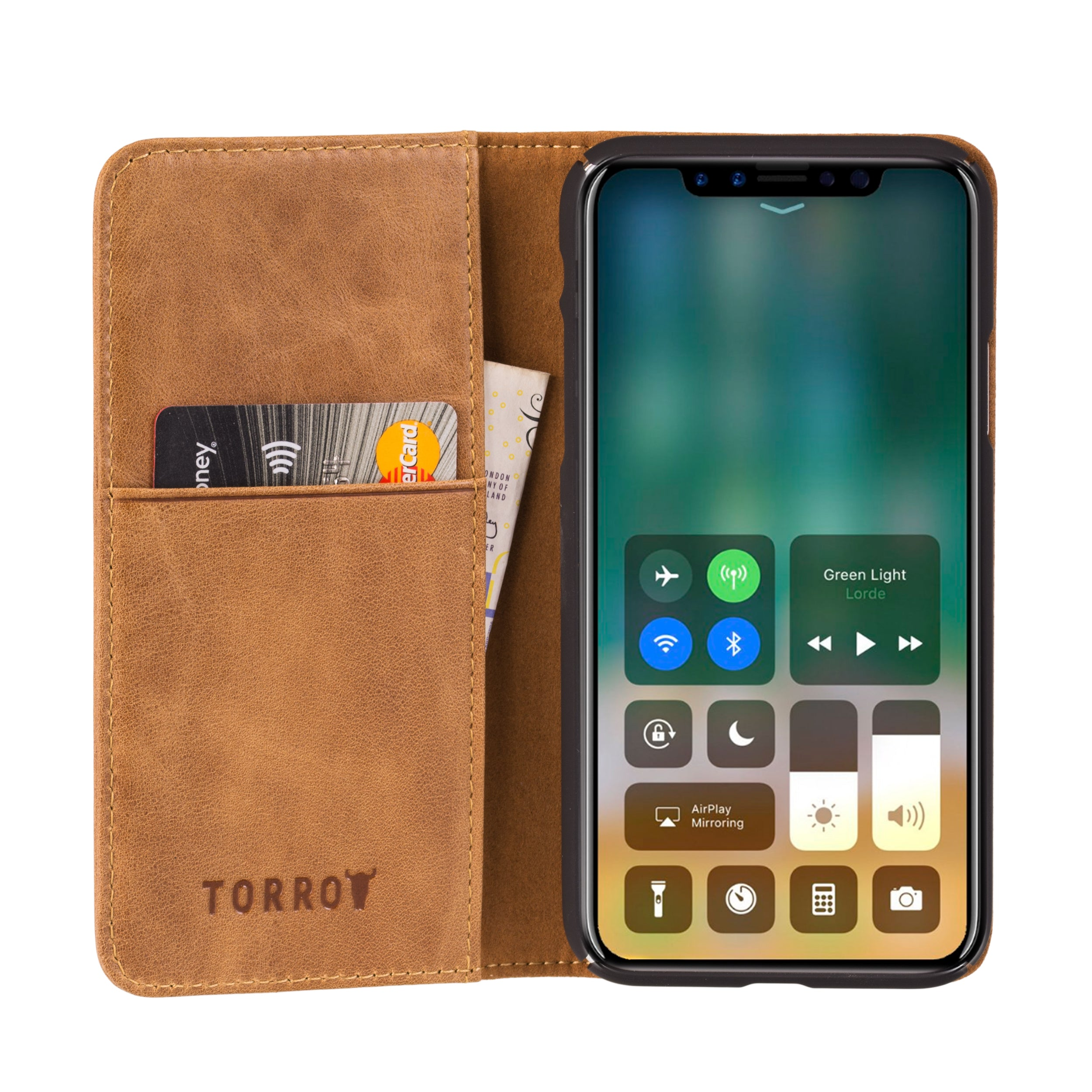 best sneakers bfcb7 519a7 iPhone X / iPhone 10 USA Tan Leather Case, with Stand Function