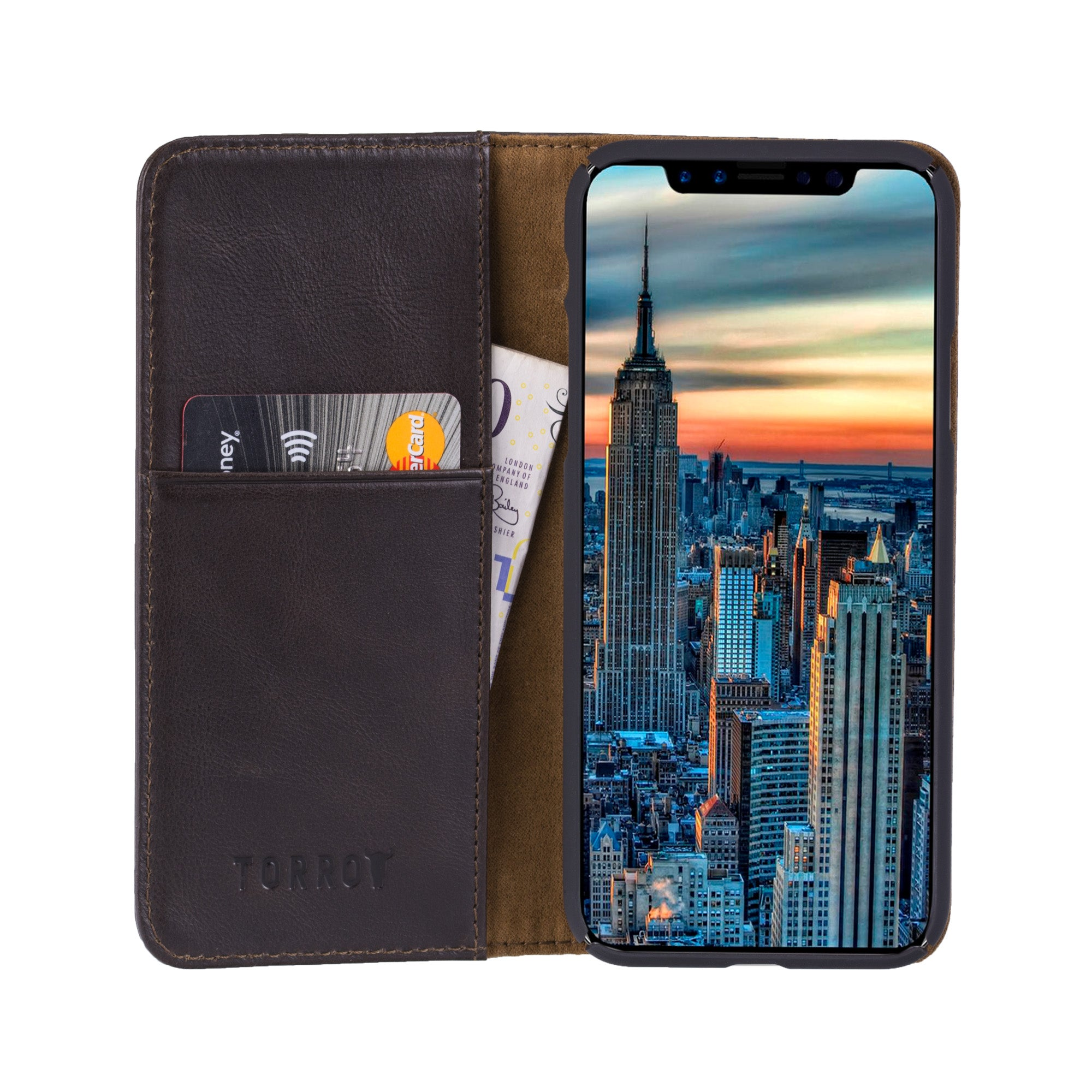 buy online 16a89 c7029 iPhone X / iPhone 10 Black Italian Leather Case, with Stand function