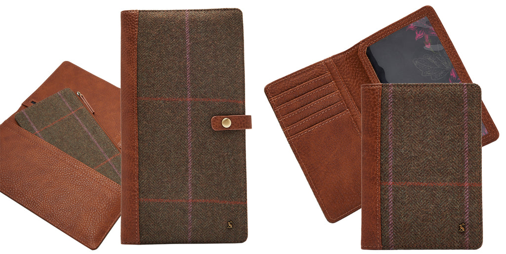 Joules Passport Cover In Hardy Tweed