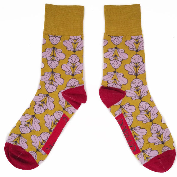 Floral Decorated Fun Socks for Men