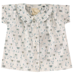Pigeon Baby Peter Pan Collar Blouse In Llama Print