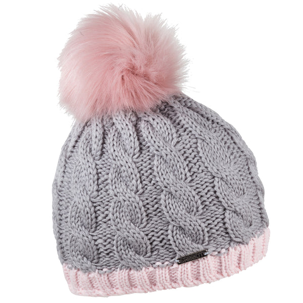 Sabbot Andrea Bobble Hat In Grey And Pink