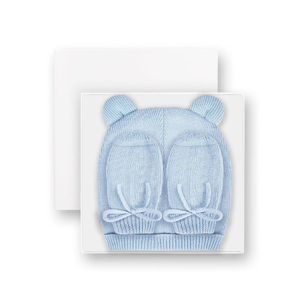 Blue Hand and Mittens Set By Kate Loxton Fine Knit Baby Wear Present
