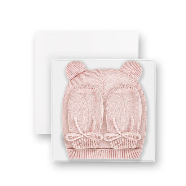 Fine Knit Hat and Mittens Baby Wear Pink By Katie Loxton