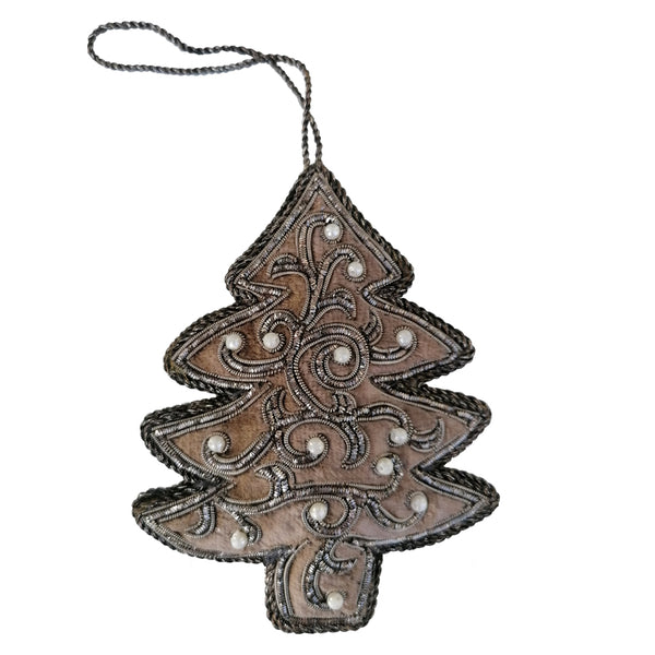Beaded Brown Christmas Tree Decoration By Tinker Tailor