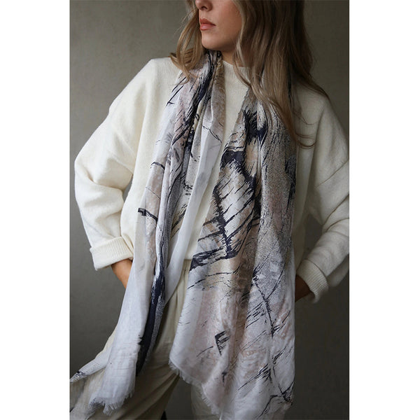 Printed Scarf By Tutti Pink Brown Grey White Long Scarf