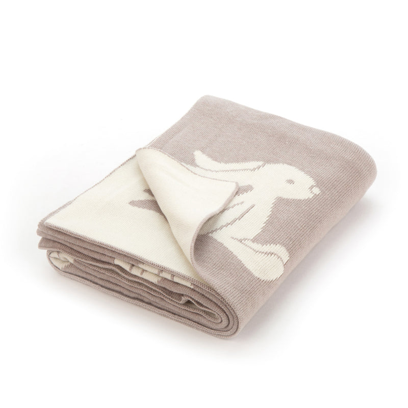 100% Cotton Bashful Bunny Jellycat Blanket In Beige And White
