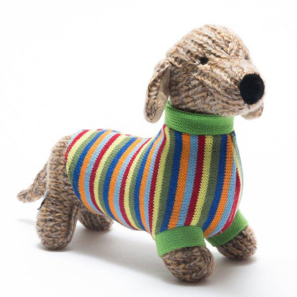 Best Years Knitted Sausage Dog With Striped Jumper