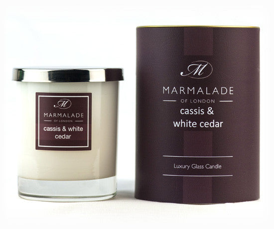 Marmalade of London Cassis & White Cedar Glass Candle & Gift Box