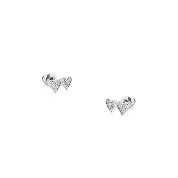 Heartbeat Silver Tutti Earrings Love Heart Studs