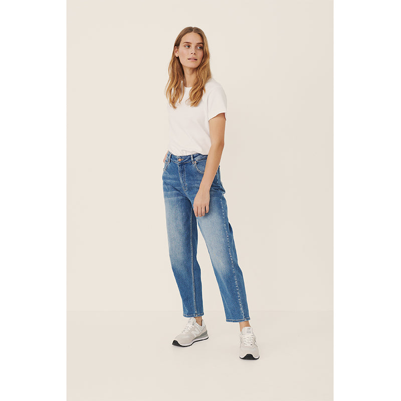 High-Waisted Jean Ankle Length Blue Denim Cotton By Part Two