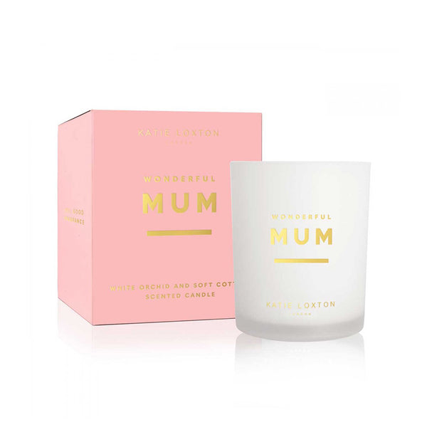 Wonderful Mum Sentiment Candle In White Orchid And Soft Cotton By Katie Loxton