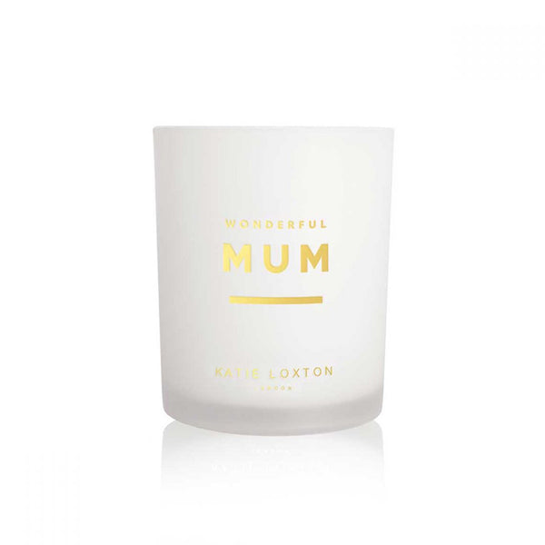 Katie Loxton Wonderful Mum Sentiment Candle In White Orchid And Soft Cotton Gift  Glass