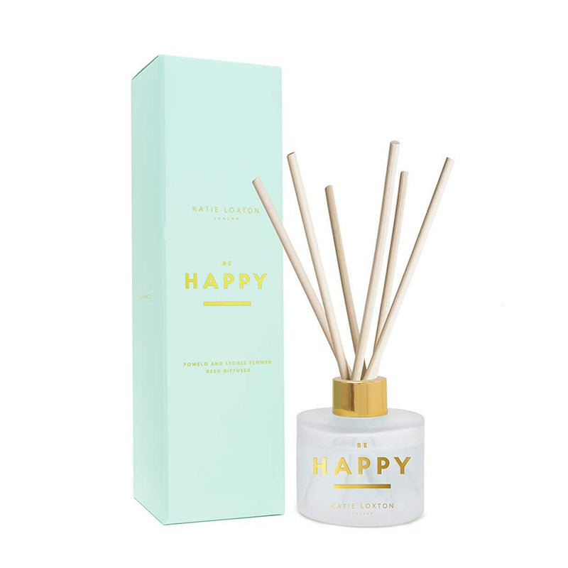 Be Happy Sentiment Reed Diffuser In Pomelo And Lychee Flower By Katie Loxton
