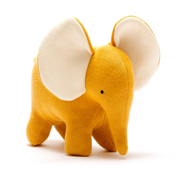 Large Mustard Elephant Knitted Cotton Gift By Best Years