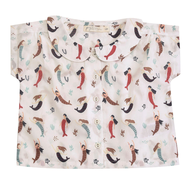 Mermaid Print Peter Pan Collar Blouse By Pigeon Shirt Buttoned