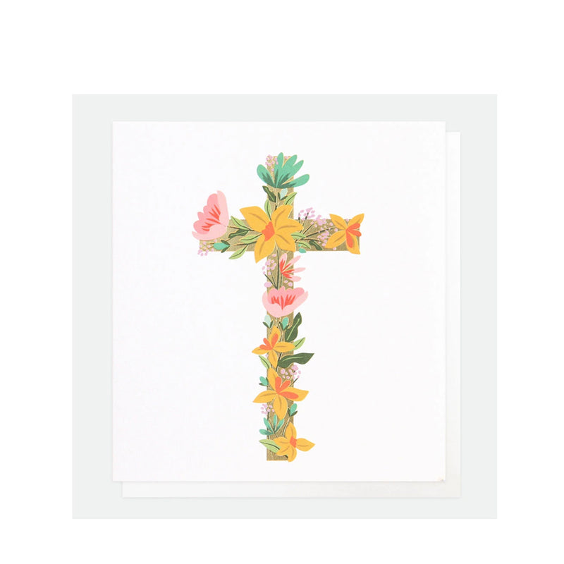 Floral Cross Easter Card By Caroline Gardner