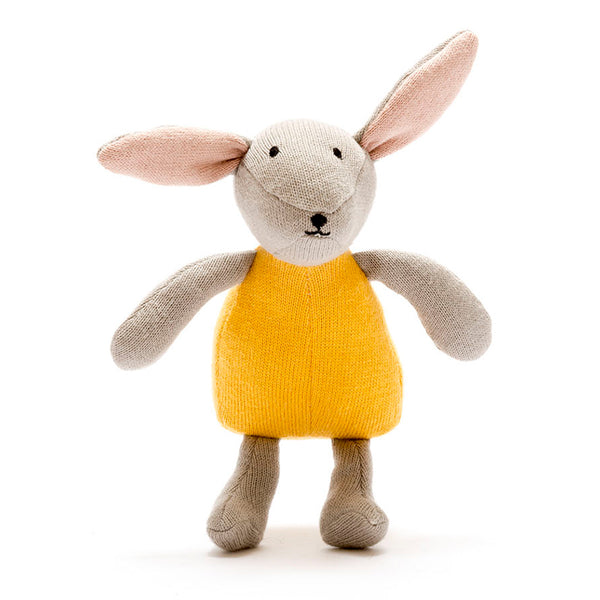 Mustard Knitted Cotton Bunny Baby Gift By Best Years