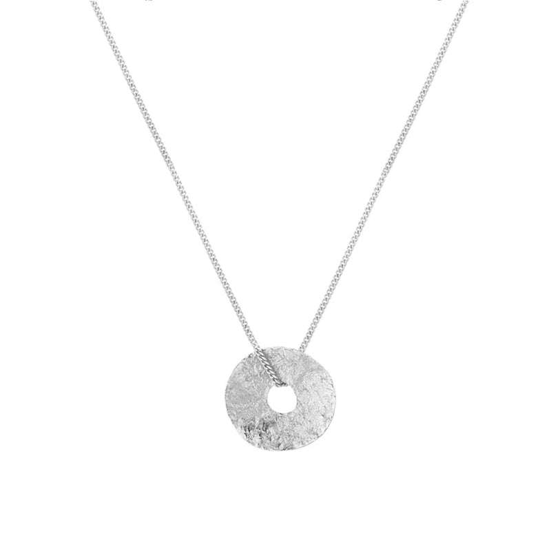 Silver Circle Disk Sole Tutti Necklace Gift
