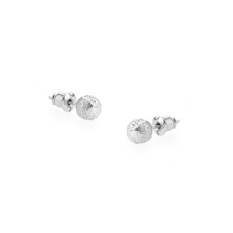 Textured Silver Orb Earrings Studs By Tutti & Co Jewellery