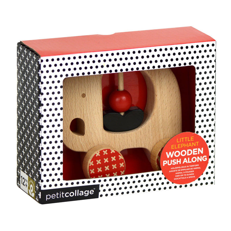 Elephant Wooden Push Toy Made from Eco-Friendly Wood by Petit Collage