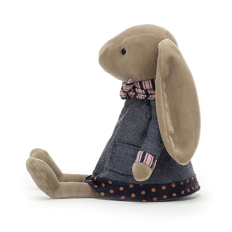 Brown Bunny Gift By Jellycat in Denim Jacket and Stripy Scarf