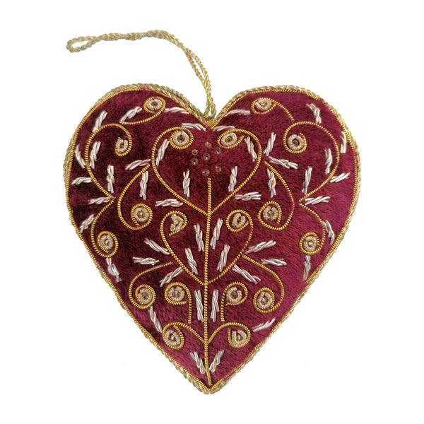 Delicate Beaded Red Love Heart Christmas Decoration By Tinker Tailor