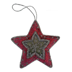 Red and Green Hanging Christmas Star Decoration By Tinker Tailor