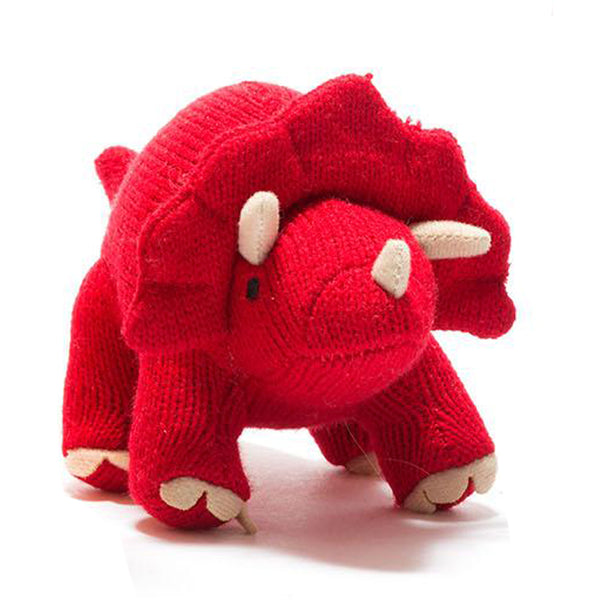 Best Years Knitted Red Acrylic Triceratops Baby Rattle Gift