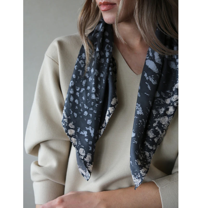 Speckled Print Grey Navy Polyester Tutti Square Scarf Gift