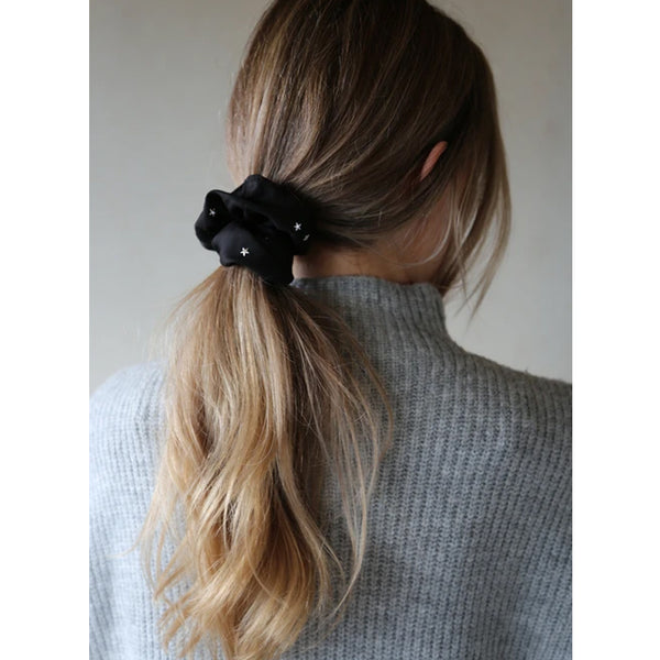 Black Scrunchie With White Stars Lustre By Tutti Comfortable Bobble