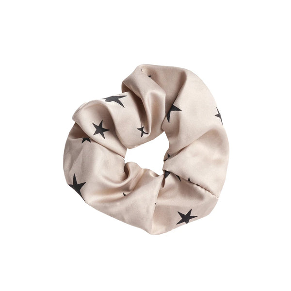Starlight Stone Black Star Print Scrunchie Tutti Hair Care Gift