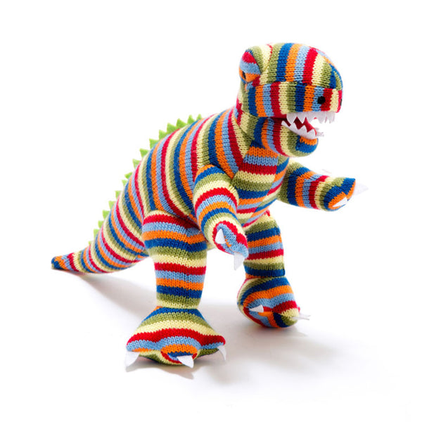 Best Years Multi Stripe T Rex Baby Rattle Acrylic