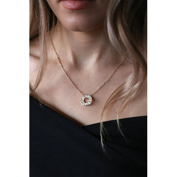Gold Outline Circle Pendant Chain Necklace Gift By Tutti Jewellery