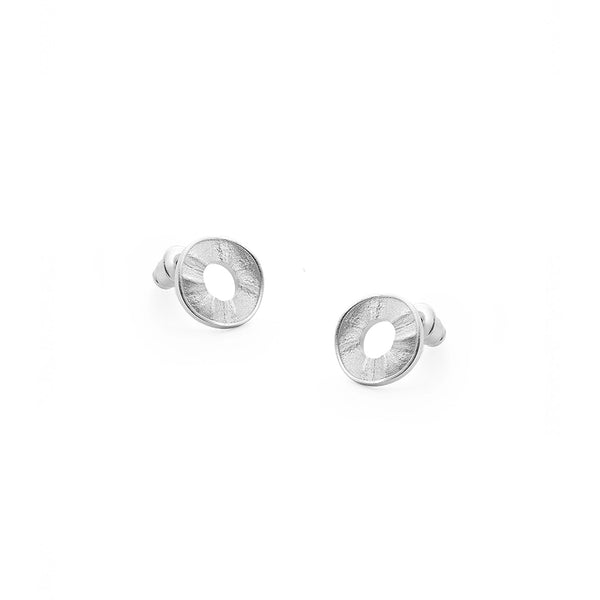 Silver Circle Rough Surface Tutti Jewellery Earrings