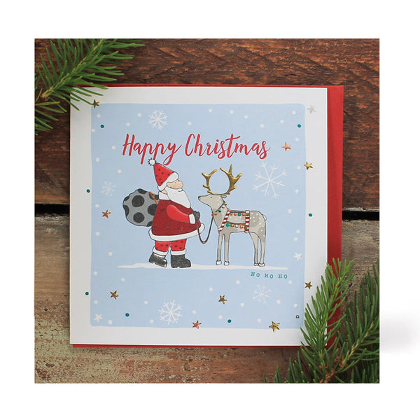 Father Christmas And Reindeer Christmas Card By Molly Mae