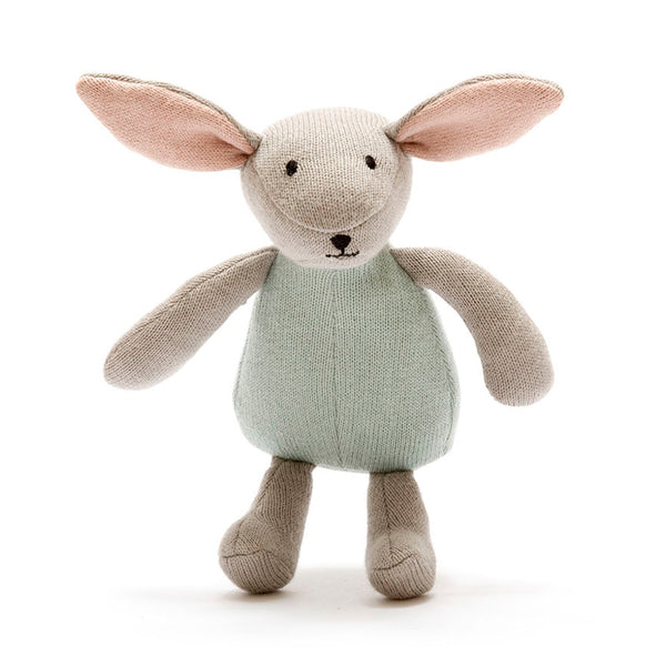 Teal Knitted Cotton Bunny By Best Years Gift