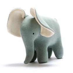 Large Knitted Cotton Teal Elephant By Best Years Gift