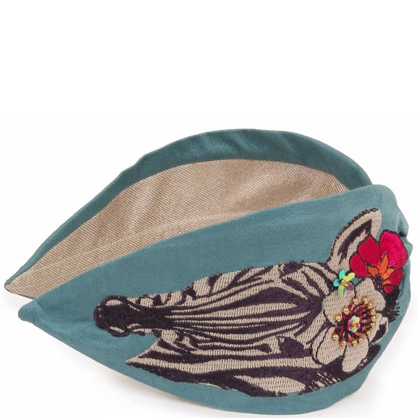 Zebra Embroidered Headband