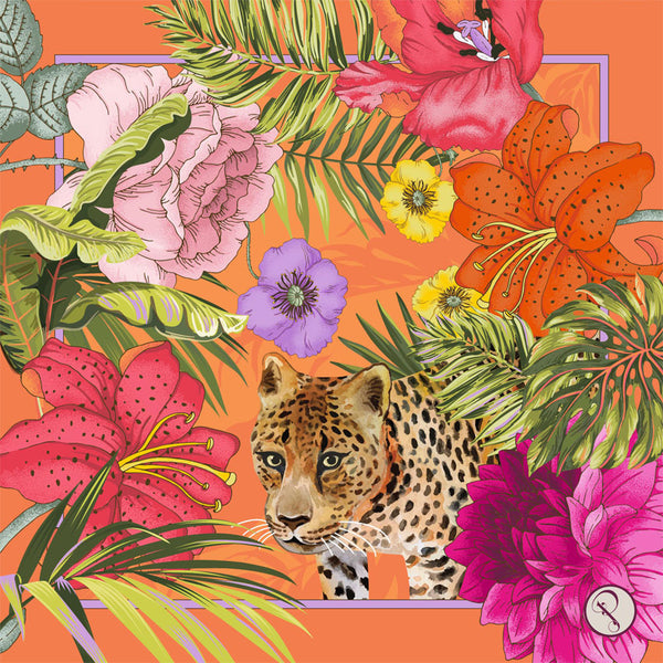 Jungle Floral Leopard Silk Scarf