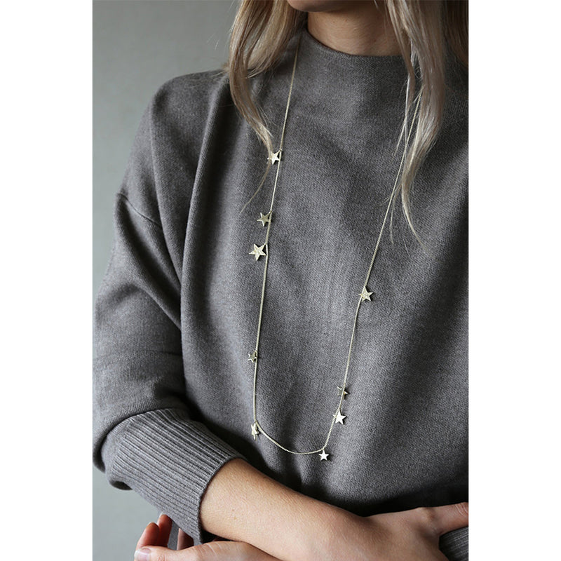 Long Necklace With Stars In Silver By Tutti Jewellery
