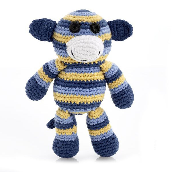 Best Years Crochet Monkey Rattle In Blue