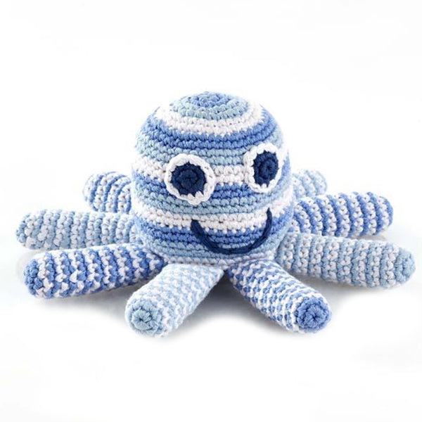 Best Years Crochet Octopus Rattle In Pale Blue