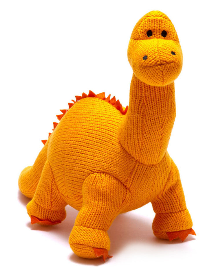 Best Years Dinosaur Toy, Knitted Mini Diplodocus Rattle