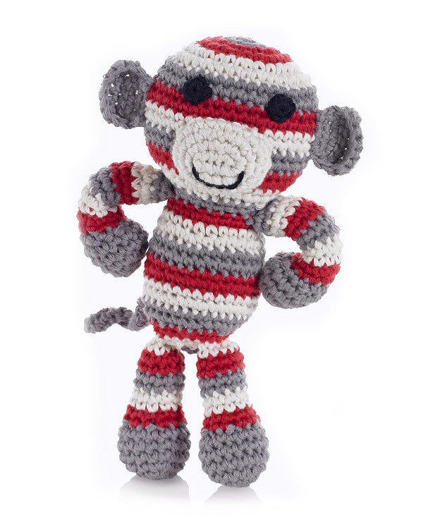 Best Years Crochet Monkey Rattle In Red