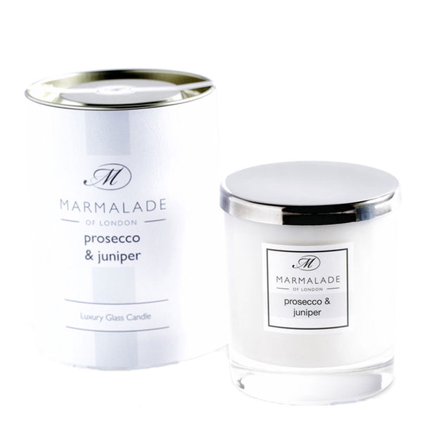 Glass Jar Prosecco and Juniper Luxury Candle by Marmalade of London