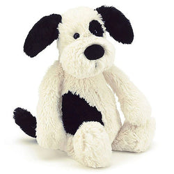 Jellycat Bashful Medium Puppy In Black & Cream