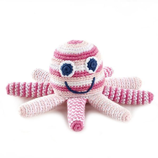 Best Years Octopus Baby Rattle Toy In Pink Stripes
